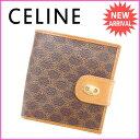 【送料無料】 セリーヌ CELINE 二つ折り財布 メンズ可 マカダム ブラウン PVC×レザー (あす