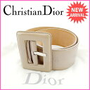 【送料無料】 クリスチャン・ディオール Christian Dior ベルト レディース ベージュ エナメルレザー (あす楽対応) 【中古】 G674 ★