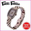 【送料無料】 フォリフォリ Folli Follie 腕時計 クォーツ レディース ラインストーンベゼル スクエアフェイス ピンクゴールド×クリア ステンレススチール×ラインストーン (あす楽対応)セール 美品【中古】 J7526