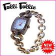 フォリフォリ Folli Follie 腕時計 ハートチェーン クォーツ レディース ラインストーン付き スクエアフェイス ゴールド×クリア ステンレススチール×ラインストーン (あす楽対応)激安 セール【中古】 J7681