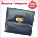 【中古】 サルヴァトーレ フェラガモ Wホック財布 さいふ ガンチーニ ネイビー×ゴールド Salvatore Ferragamo E886 ブランド