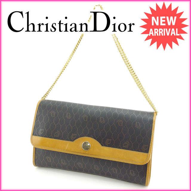 クリスチャン・ディオール Christian Dior ショルダーバッグ チェーンショルダー レディース ブラック×ベージュ PVC×レザー ヴィンテージ 人気 E909