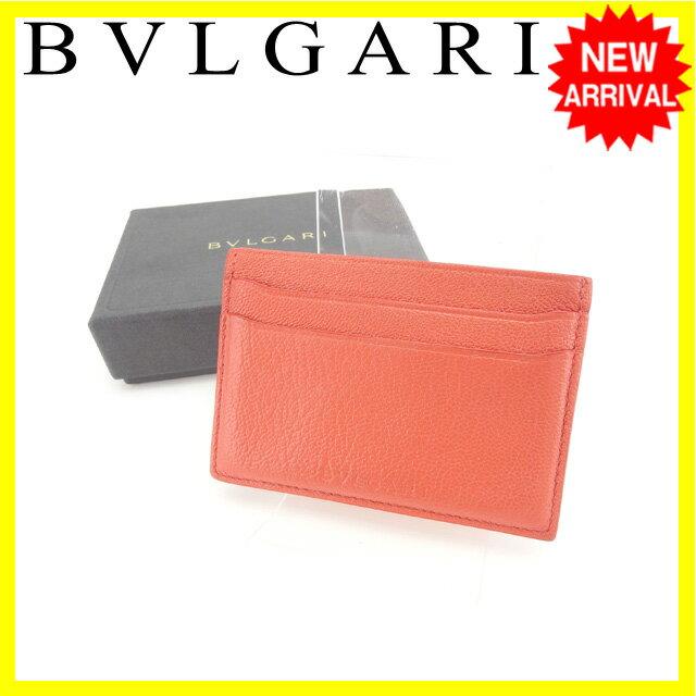 【送料無料】 ブルガリ BVLGARI カードケース パスケース レディース ロゴ コーラルピンク レザー (対応) 【】 B814 送料無料 安い セール