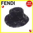 【送料無料】フェンディFENDI帽子レディースブラックフェイクファー(あす楽対応)良品【中古】J10693