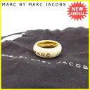 【中古】 【送料無料】 マークバイマークジェイコブス MARC BY MARC JACOBS 指輪 リング アクセサリー レディース ♯12〜145号 ロゴ アイボリー×ゴールド ゴールド素材 人気 良品 Y5464s