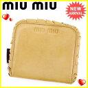 其它 - ミュウミュウ miu miu 二つ折り財布 財布 ラウンドファスナー レディース フリル ベージュ×ブラウン×シルバー レザー 良品 セール 【中古】 J20245