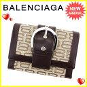 バレンシアガ BALENCIAGA 二つ折り 財布 L字ファスナー レディース メンズ 可 BB ブラウン×