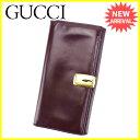 グッチ Gucci 長財布 二つ折り 財布 メンズ可 ブラウン×ゴールド レザー 人気 セール 【中古】 L1705