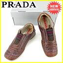 プラダ PRADA スニーカー シューズ 靴 レディース ♯38 ローカット スポーツライン ブラウ...