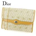 【中古】 ディオール Dior ショルダーバッグ チェーンショルダー クラッチバッグ レディース メンズ 可 オールドディオール ベージュ ライトブラウン PVC×レザー ヴィンテージ 人気 T7165