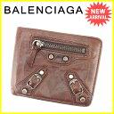 バレンシアガ BALENCIAGA 二つ折り財布 メンズ可 クラシック ブラウン×シルバー レザー 良