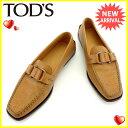 トッズ TOD'S ローファー シューズ 靴 レディース ♯38 スクエアトゥ キャメル×シルバー レザー 人気 セール 【中古】 J15490 ★