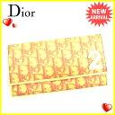 【送料無料】 クリスチャンディオール Christian Dior 長財布 ファスナー 二つ折り レディース トロッター ホワイト×ピンク PVC×レザー (あす楽対応)激安 セール【中古】 D1452