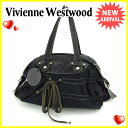【送料無料】 ヴィヴィアン ウエストウッド Vivienne Westwood ハンドバッグ ミニボストンバッグ メンズ可 オーブ ブラック×シルバー キャンバス×レザー 良品 セール 【中古】 S454