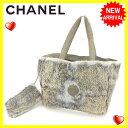 【中古】 【送料無料】 シャネル トートバッグ ハンドバッグ レディース ココマーク ベージュ×カーキ系 Chanel S208