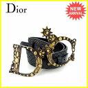 【送料無料】 クリスチャンディオール Christian Dior ベルト ♯70サイズ レディース CDバックル ブラック×アンティークゴールド レザー×ゴールド金具 美品 【中古】 C2463