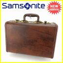 サムソナイト SAMSONITE トラベルバッグ ハンドバッグ ロゴプレート ブラウン×ゴールド レザー ヴィンテージ レア  Y5375 .