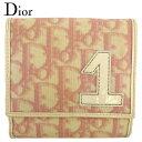 ショッピングDior 【中古】 ディオール Wホック 財布 二つ折り ミニ財布 レディース トロッター ピンク ベージュ PVC×エナメルレザー Dior Q660