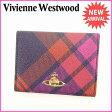 ヴィヴィアンウエストウッド Vivienne Westwood カードケース パスケース メンズ可 チェック×オーブ ピンク×パープル×ゴールド系 PVC×レザー (あす楽対応) 人気 【中古】 L485 ★