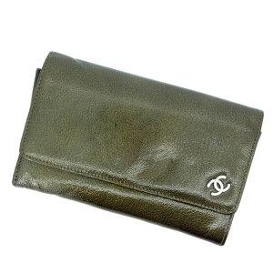 【中古】 シャネル 二つ折り財布 ココマーク グリーン