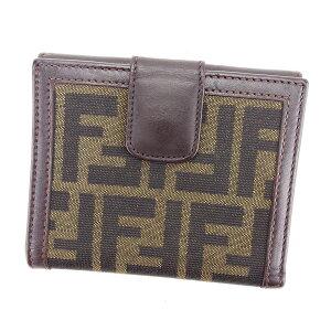 【中古】 フェンディ Wホック財布 二つ折り 財布 ズッ