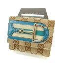 樂天商城 - 【中古】 【送料無料】 グッチ Wホック財布 ブルー×ベージュ M1237s