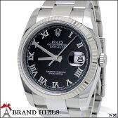 【美品】 ロレックス 116234 オイスターパーペチュアル デイトジャスト メンズ 自動巻き 腕時計 SS/K18WGベゼル ブラック文字盤 D番 2005年頃 ROLEX 【中古】