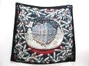 【中古】エルメス 24番地クリスマス スカーフ 衣料品 レディース シルク ブラック x マルチカラー