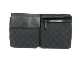 GUCCI (Gucci) / waist porch / porch (handle and) / system / Black Black / canvas / (28566-200047) [BRANDOFF / brand off].