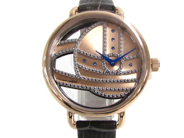 Vivienne Westwood(ヴィヴィアンウエストウッド)/LADBROKE 2 レディース ウォッチ 腕時計///ピンクゴールドメッキ×レザーベルト (VV076RSGY) [BRANDOFF/ブランドオフ] ブランド買うならブランドオフ! カード分割