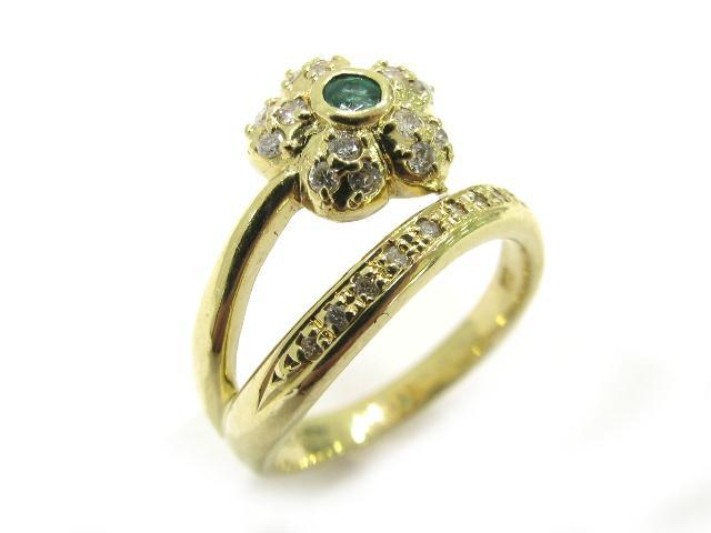 JEWELRY(ジュエリー)/ダイヤモンド リング 指輪/リング/K18YG(750) イエローゴールド×ダイヤモンド0.22ct×緑石(石目無し)/【ランクA】/11号 ブランドオフ【】 ブランド買うならブランドオフ♪ 安心の実績 高価 買取 強化中♪