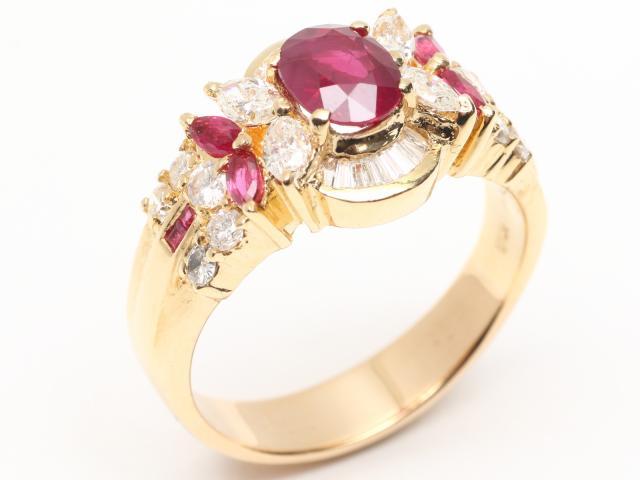 JEWELRY(ジュエリー)/ルビー ダイヤモンド リング 指輪/リング/K18YG(750) イエローゴールドx ルビー(1.21ct) x ダイヤモンド(0.42ct)/【ランクA】/19.5号 ブランドオフ【】 ブランド買うならブランドオフ♪ 安心の実績 高価 買取 強化中♪