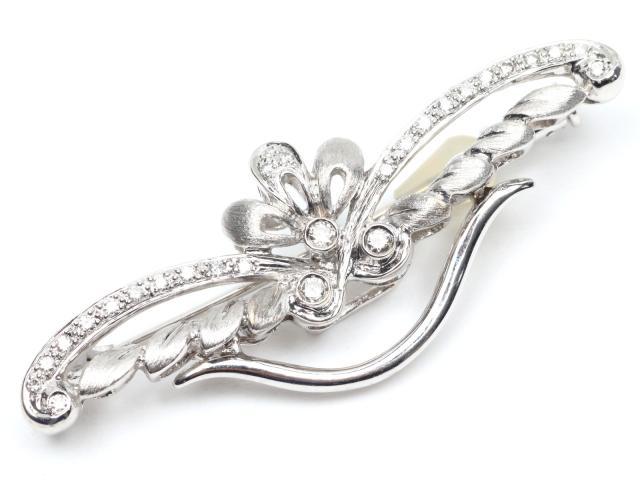 JEWELRY(ジュエリー)/ダイヤモンド ブローチ/ブローチ/K18WG(750) ホワイトゴールドx ダイヤモンド(0.20ct)/【ランクA】[BRANDOFF/ブランドオフ]【】 【USED品送料無料】
