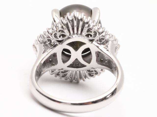 ブラックパール ダイヤモンド リング 指輪