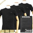 ディーゼル DIESEL メンズ Tシャツ 3枚組 半袖 クルーネック 胸ロゴ 無地 パックTシャツ ブラック [Sサイズ/Mサイズ/Lサイズ] 00SPDG 0AALW 900 | ブランド