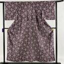 ショッピング結婚 お召 美品 逸品 花柄 小花柄 紫 袷 身丈155cm 裄丈63cm S 正絹 【中古】