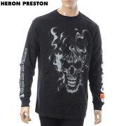 ヘロン プレストン HERON PRESTON クルーネックTシャツ 長袖 メンズ B&W SKULL LS T-SHIRT HMAB002F18600022 ブラック 2018秋冬新作