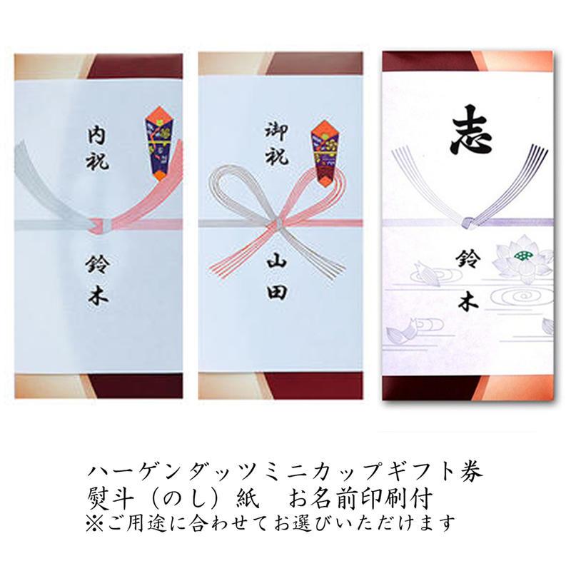 【送料無料】のし紙サービス(印刷代込) ハーゲンダッツミニカップギフト券 3枚 ハーゲンダッツ ギフト券(アイスクリーム ギフト券)