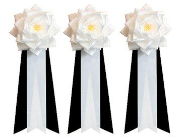 胸章リボンバラ(主催者・来賓用リボン)<中 胸バラ徽章3個セット@660円>(白黒)