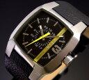 貴方の遊び心を充たす カジュアル時計DIESEL【ディーゼル】メンズ腕時計 ブラック文字盤 ブラックレザーベルト DZ1089