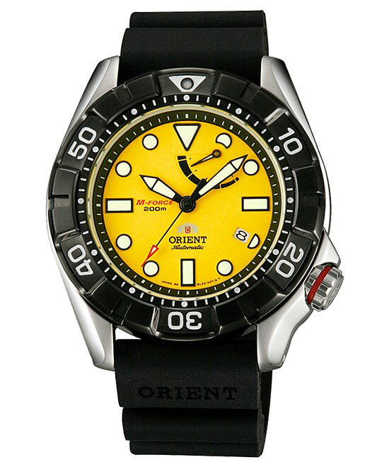 ORIENT/M-FORCE 200m【オリエント/エムフォース】DIVER'S/ダイバーズウォッチ メンズ腕時計 自動巻 パワーリザーブ イエロー文字盤 ブラックラバーベルト MADE IN JAPAN 海外モデル SEL03005Y0