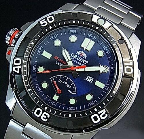 ORIENT/M-FORCE 200m【オリエント/エムフォース】DIVER'S/ダイバーズウォッチ メンズ腕時計 自動巻 パワーリザーブ ネイビー文字盤 メタルベルト MADE IN JAPAN 海外モデル SEL06001D0