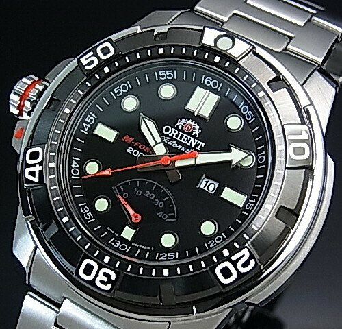 ORIENT/M-FORCE 200m【オリエント/エムフォース】DIVER'S/ダイバーズウォッチ メンズ腕時計 自動巻 パワーリザーブ ブラック文字盤 メタルベルト MADE IN JAPAN 海外モデル SEL06001B0