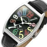 ミッシェル ジョルダン/MICHAEL JURDAIN メンズ腕時計 トノー 5Pダイヤ ブラック(レインボー)文字盤 ブラックレザーベルト SG-1000-7【】【楽ギフ包装選択