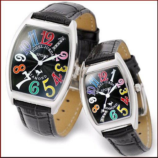 ミッシェル ジョルダン/MICHAEL JURDAIN ペアウォッチ トノー 5Pダイヤ ブラック(レインボー)文字盤 ブラックレザーベルト SG-1000-7 SL-1000-7 時計好きの遊び心を充たすカジュアル時計