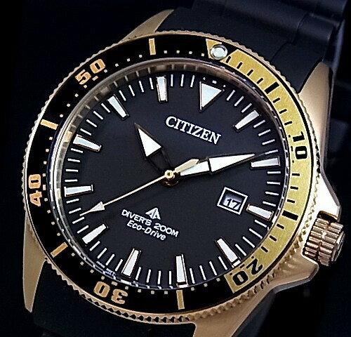 CITIZEN/PROMASTER【シチズン/プロマスター】メンズ腕時計 エコドライブ 200M防水ダイバーズ ゴールドケース ブラック文字盤 ブラックラバーベルト BN0104-09E(海外モデル)【02P05Nov16】