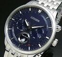 CITIZEN/エコドライブ【シチズン】メンズ ソーラー腕時計 ムーンフェイズ ネイビー文字盤 メタルベルト MADE IN JAPAN 海外モデル【並行輸入品】 AP1050-56L