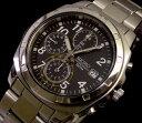 大人時計! SEIKO海外モデル!SEIKO/セイコー【クロノグラフ】メンズ腕時計 ブラック文字盤 メタルベルト SND195