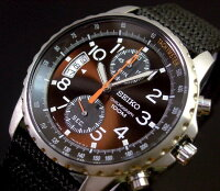 SEIKO/セイコー【クロノグラフ】メンズ腕時計ダークブラウン文字盤ナイロンベルトSNN079P2