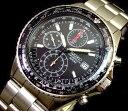 大人時計! SEIKO海外モデル!SEIKO/セイコー【パイロットクロノグラフ】メンズ腕時計 メタルベルト ブラック文字盤 SND253P1